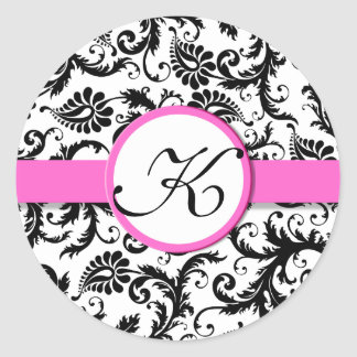 Bright Pink Damask Vintage Floral Wedding Stickers