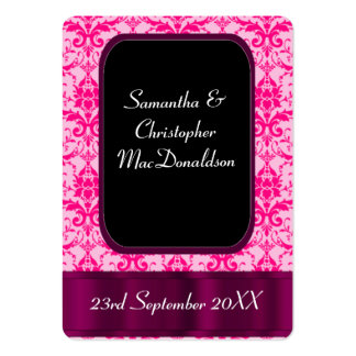 Bright Pink damask wedding favor thank you tag Large Business Cards (Pack Of 100)