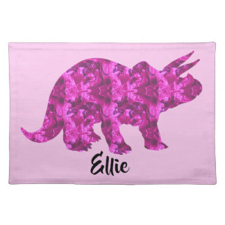 Bright Pink Dinosaur Personalized Placemats