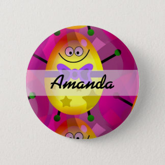 Bright Pink Easter 6 Cm Round Badge