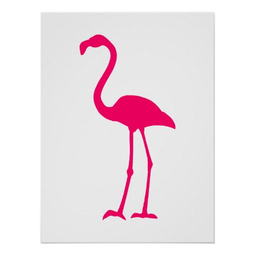 Bright Pink Flamingo Poster