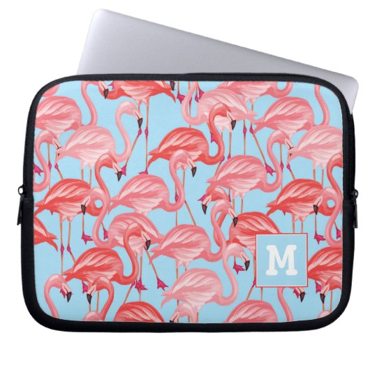 Bright Pink Flamingos On Blue | Add Your Initial Laptop Sleeve