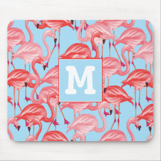 Bright Pink Flamingos On Blue | Add Your Initial Mouse Pad