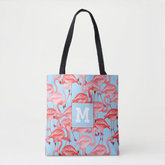 Bright Pink Flamingos On Blue | Add Your Initial Tote Bag