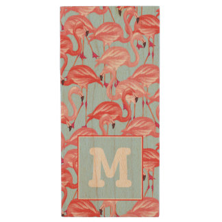 Bright Pink Flamingos On Blue | Add Your Initial Wood USB 2.0 Flash Drive