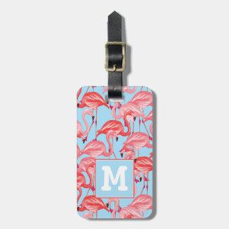 Bright Pink Flamingos On Blue | Monogram Luggage Tag