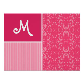 Bright Pink Floral Posters