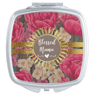Bright Pink Floral Rustic Wood Gold Blessed Mama Compact Mirror