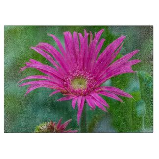 Bright pink flower glass cutting board