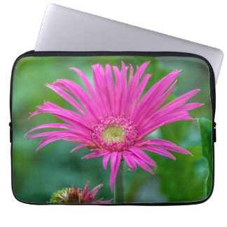 Bright pink flower laptop sleeve