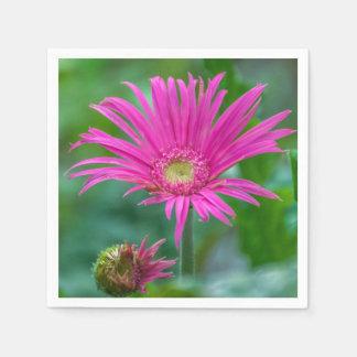 Bright pink flower paper napkin