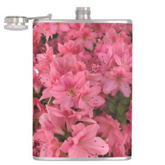 Bright pink flowering bush in the spring hip flask