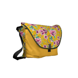 Bright Pink Flowers on Bold Yellow Courier Bag