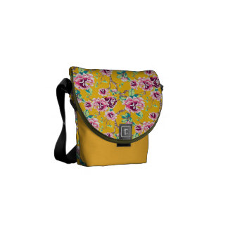 Bright Pink Flowers on Bold Yellow Courier Bags