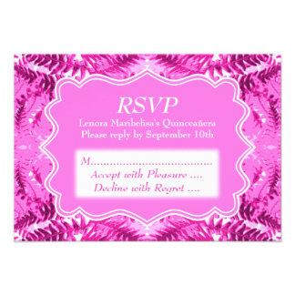 Bright Pink Foliage Pattern Quinceanera Invite