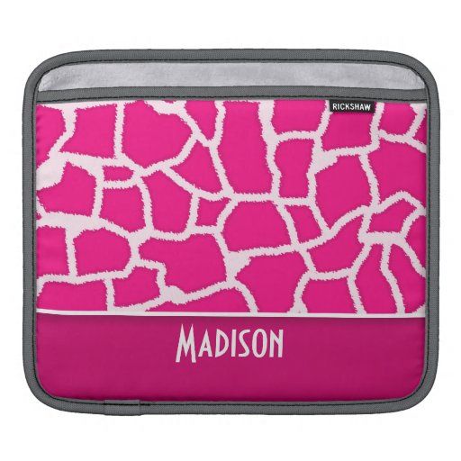 Bright Pink Giraffe Animal Print iPad Sleeves