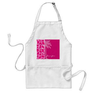 Bright Pink Giraffe Animal Print; Summer Palm Adult Apron