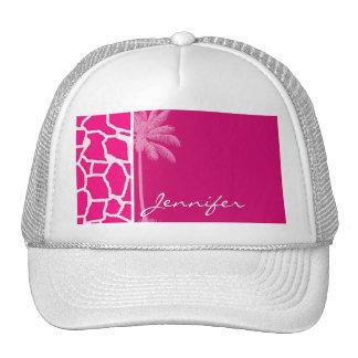 Bright Pink Giraffe Animal Print; Summer Palm Trucker Hat