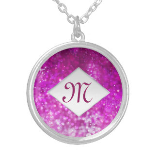 Bright pink glitter black cool galaxy monogram silver plated necklace