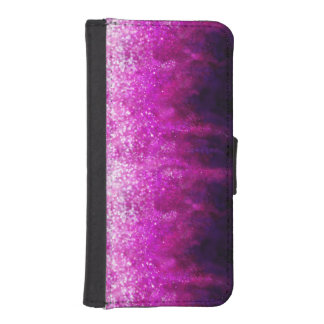 Bright pink glitter black cool galaxy pattern iPhone SE/5/5s wallet case