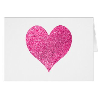 Bright Pink Glitter Heart Thank You Card
