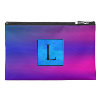 Bright Pink Gradient Color With Monogram Travel Accessory Bag