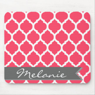Bright Pink Gray Moroccan Lattice & Banner Mouse Pad
