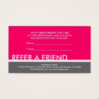 Bright pink gray simple refer a friend cards