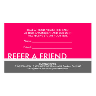 Bright pink gray simple refer a friend cards Double-Sided standard business cards (Pack of 100)