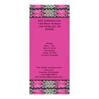 Bright Pink Green Abstract Full Color Rack Card