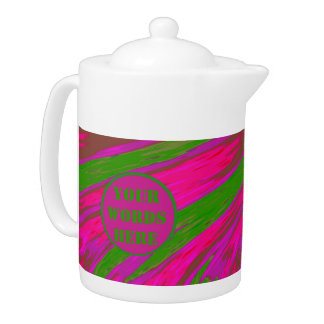 Bright Pink Green Color Swish Abstract