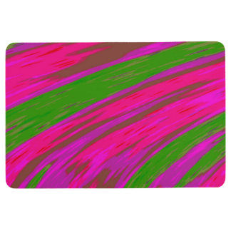 Bright Pink Green Color Swish Abstract Floor Mat