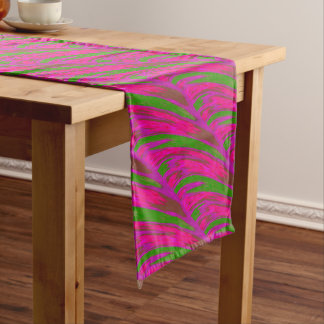 Bright Pink Green Color Swish Abstract Long Table Runner