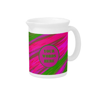 Bright Pink Green Color Swish Abstract Pitcher