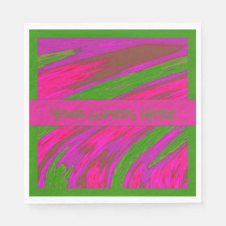 Bright Pink Green Color Swish Disposable Serviette