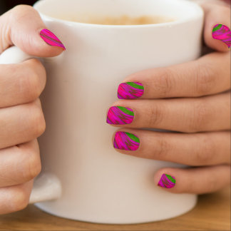 Bright Pink Green Color Swish Minx Nail Art