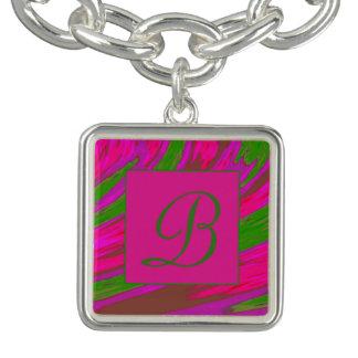 Bright Pink Green Color Swish Monogramd