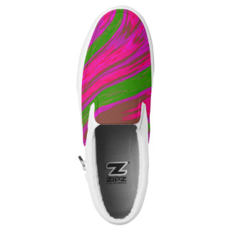 Bright Pink Green Color Swish Slip-On Shoes