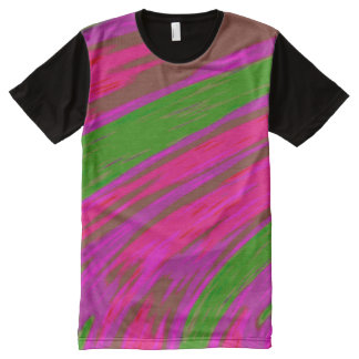 Bright Pink Green  Colour Swish All-Over Print T-Shirt