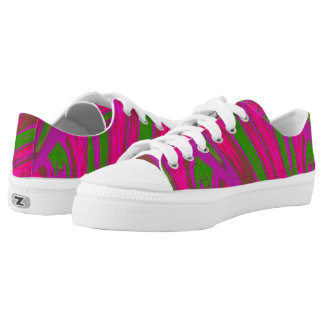 Bright Pink Green Colour Swish Low Tops