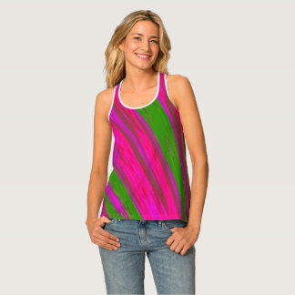 Bright Pink Green Colour Swish Tank Top