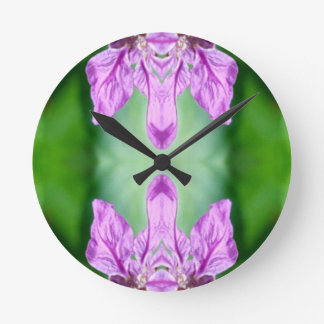 Bright Pink Green 'Coming Together' Abstract Wall Clock