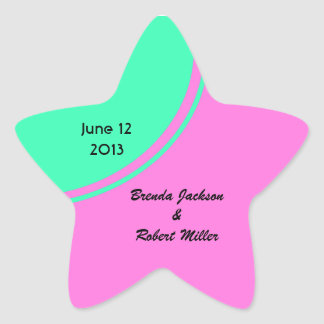 Bright pink green modern circle wedding star sticker