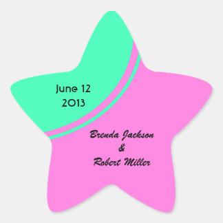 Bright pink green modern circle wedding star sticker