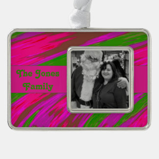 Bright Pink Green Modern Swish Abstract Silver Plated Framed Ornament