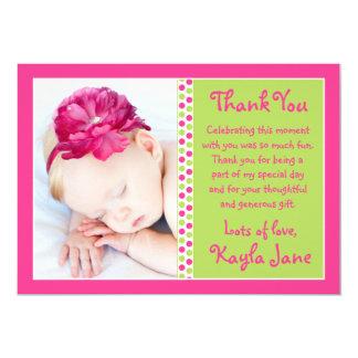 Bright Pink & Green Polka Dot Photo Thank You Card