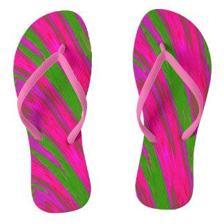 Bright Pink Green Swish Design Thongs