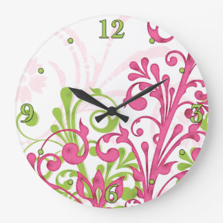 Bright Pink Green White Floral Wall Clock