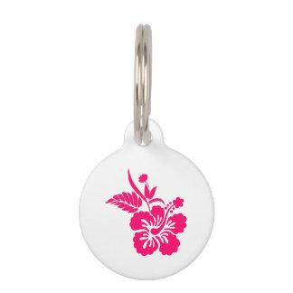Bright Pink Hawaiian Flowers Pet Tag