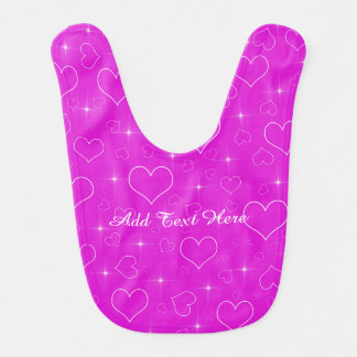 Bright Pink Hearts And Stars Bibs